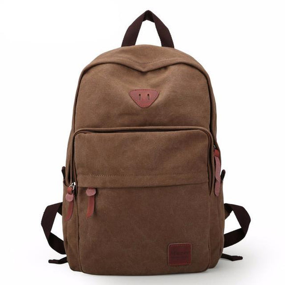 Solid Color Canvas Laptop Travel Backpack for Men