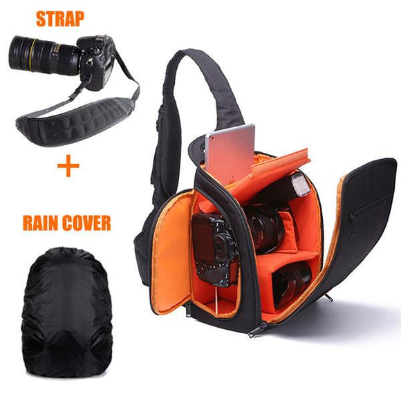 Waterproof Nylon Shoulder Sling Bag for DSLR with Rain Cover