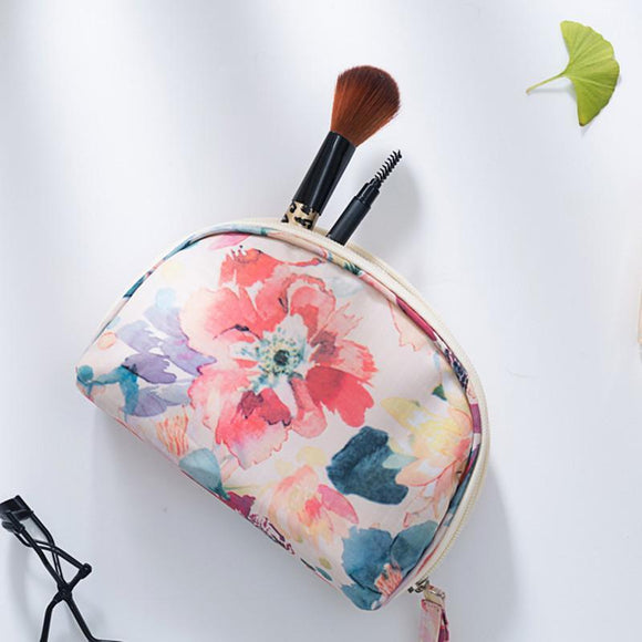 Floral Design Mini Cosmetic Vanity Bag