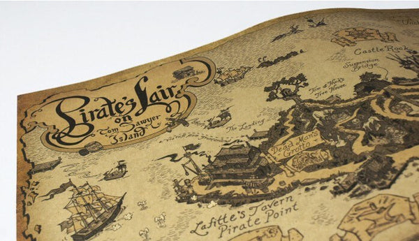 Ancient Pirate Sailing Route Kraft Poster