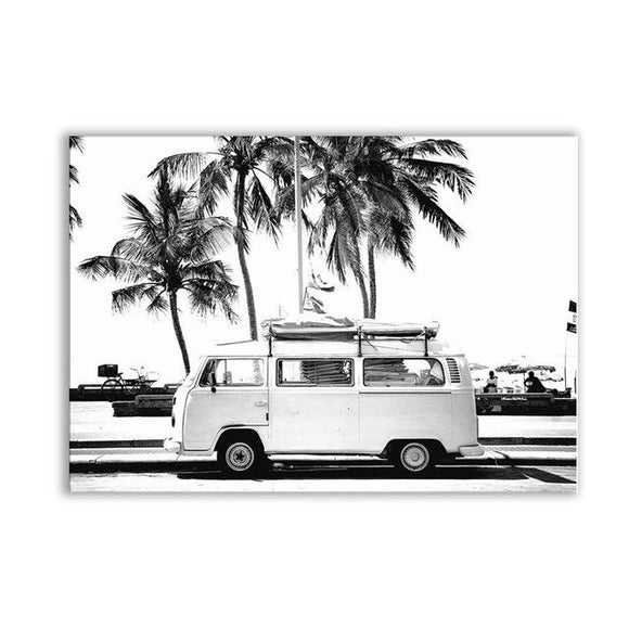 VW Vintage Coastal Art Wall Poster