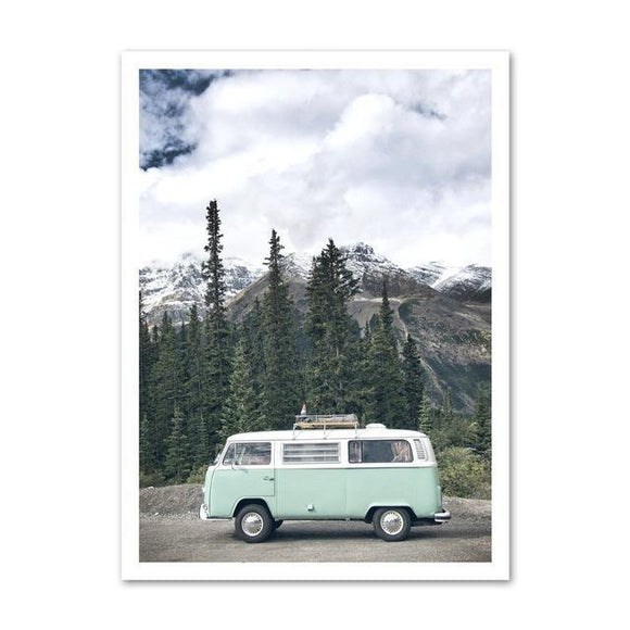 VW Bus In The Woods Wall Poster