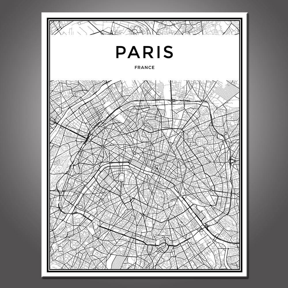 Paris City Grid Map Canvas Painting Wall Poster - Travel Nuts