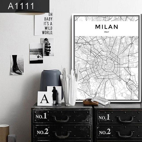 Milan City Grid Map Canvas Painting Wall Poster