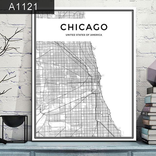 Chicago Map Canvas.Chicago City Grid Map Canvas Painting Wall Poster Travel Nuts
