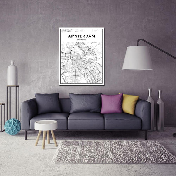 Amsterdam City Grid Map Canvas Painting Wall Poster