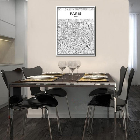 Paris City Grid Map Canvas Painting Wall Poster