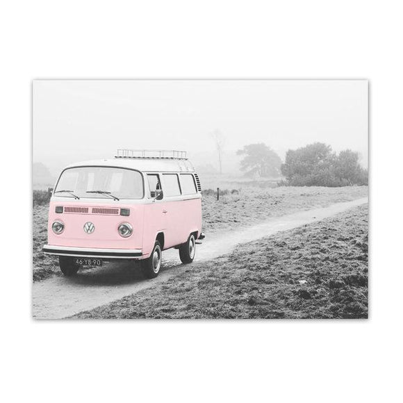 VW Pink Bus Wall Poster