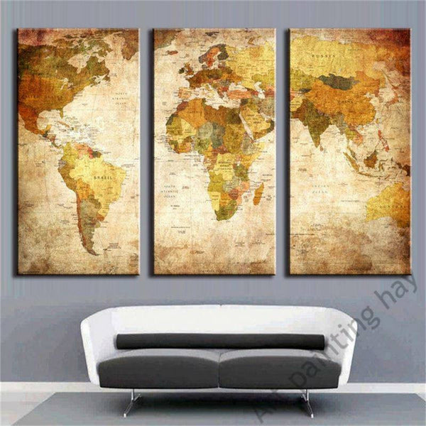 3 Panel Vintage Oil Painting World Map Travel Nuts