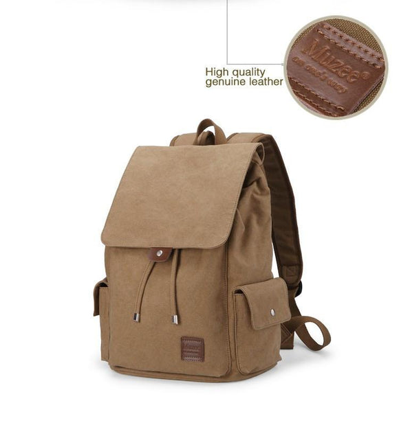 Casual Style Cotton Canvas Laptop Backpack
