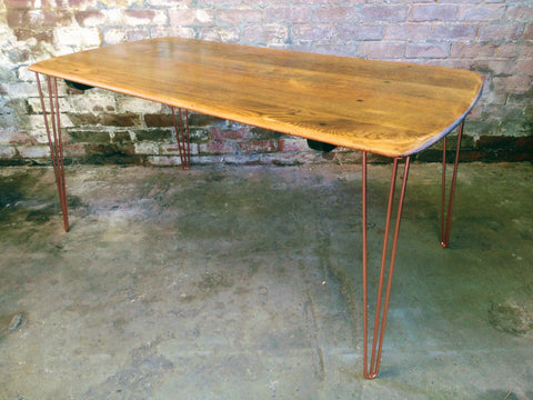 Ercol Oak Dining Table with Copper Hairpin Legs