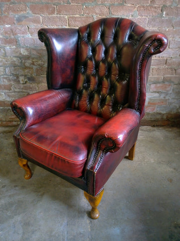 Oxblood Red Chesterfield Leather Wingback Armchair