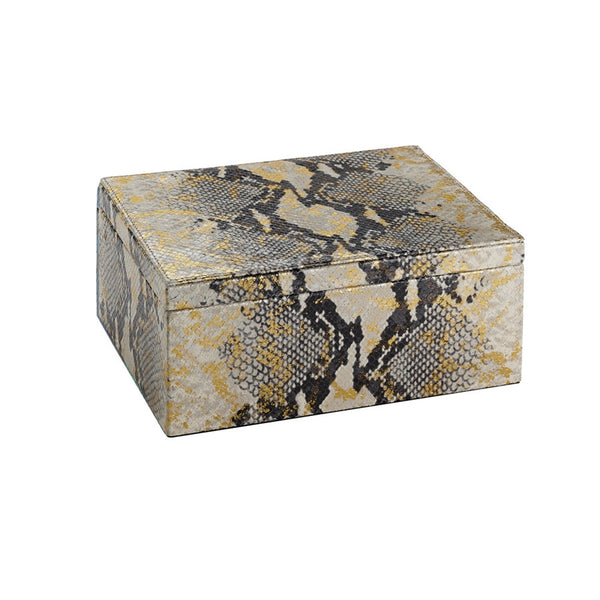 Large Box Gold Wash Embossed Python Leather
