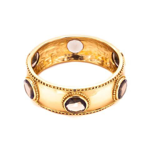Faceted Baroque Hinge Bangle | Smoky Topaz