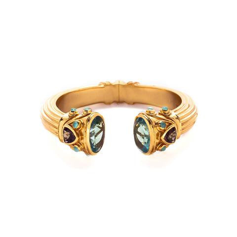 Byzantine Cuff | Aquamarine Blue and Smoky Topaz - babeonbroadway