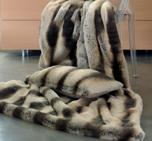 Faux Fur Bed Coverlet | Chinchilla