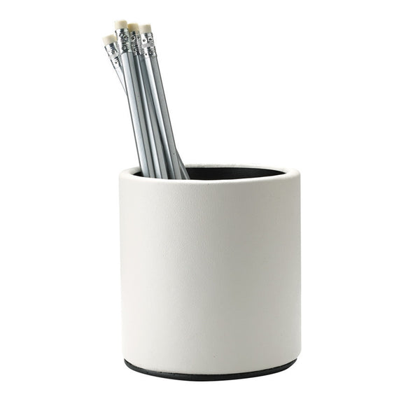 Ivory  French Calfskin Leather Pencil cup - GDH | The decorators department Store