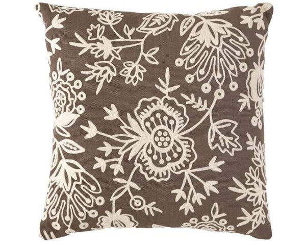 Brown Fresh American Floral Crewel Indoor Outdoor Pillow - babeonbroadway