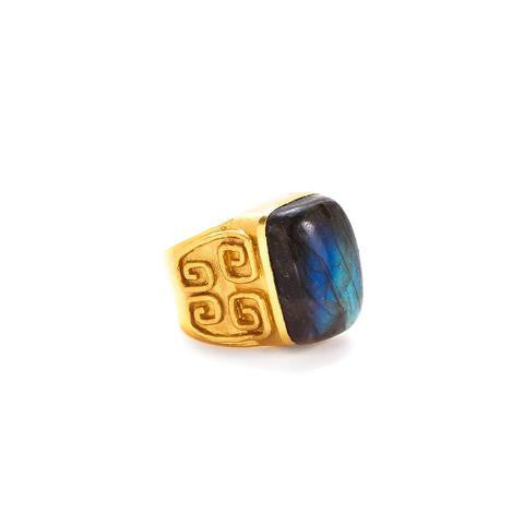 Greek Key Cocktail Ring: Labradorite