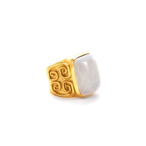 Greek Key Cocktail Ring: Moonstone