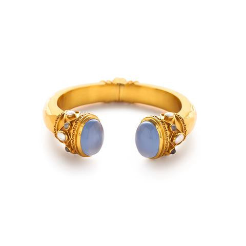 Greek Key Cuff | Chalcedony Blue Stone