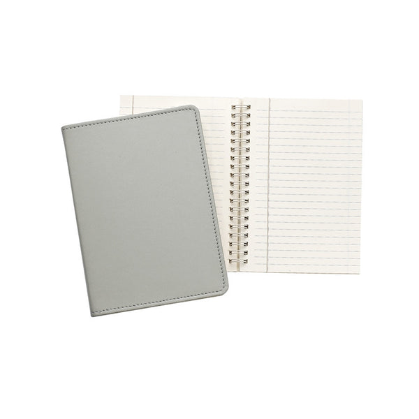 "Grey French Calfskin Leather  7"" Wire-O-Notebook - GDH 