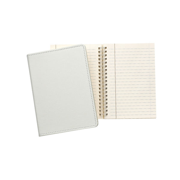 "Ivory French Calfskin Leather  7"" Wire-O-Notebook - GDH 