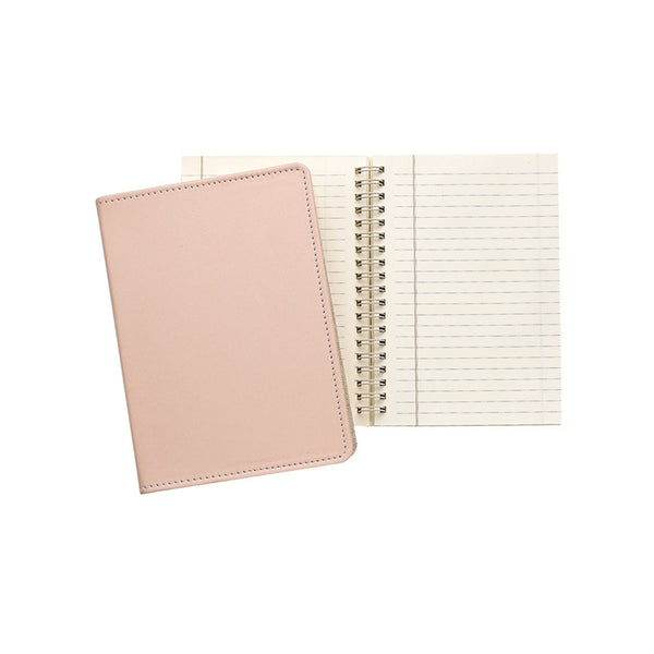 "Nude French Calfskin Leather  7"" Wire-O-Notebook - GDH 