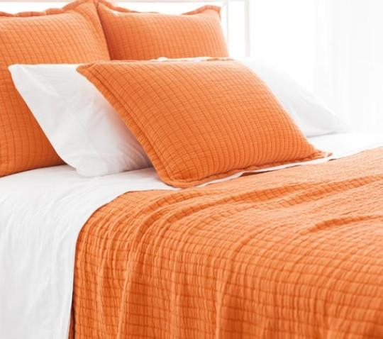 Boyfriend Matelasse Coverlet | Orange - GDH | The decorators department Store