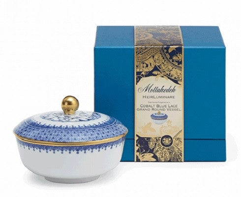 Cobalt Blue Lace Heirluminare Fragrance Candle Grand Round - GDH | The decorators department Store