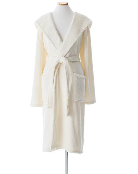 Selke Fleece Ivory Hooded Robe