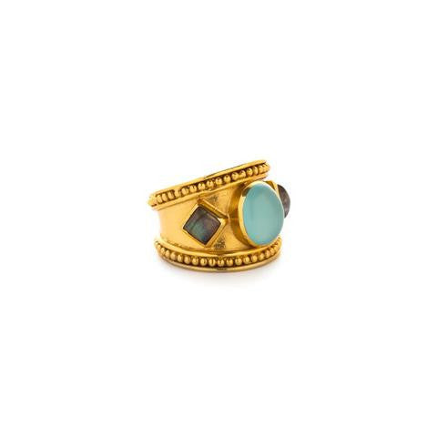 Siena Cocktail Ring: Chaelcedony and Labradorite