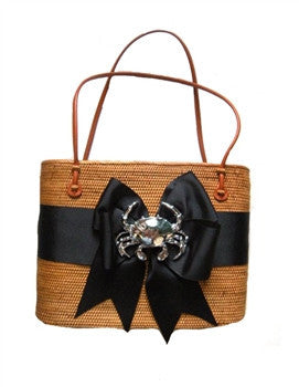 Hanging Straw Purse in Black with Crab Motif - GDH | The decorators department Store