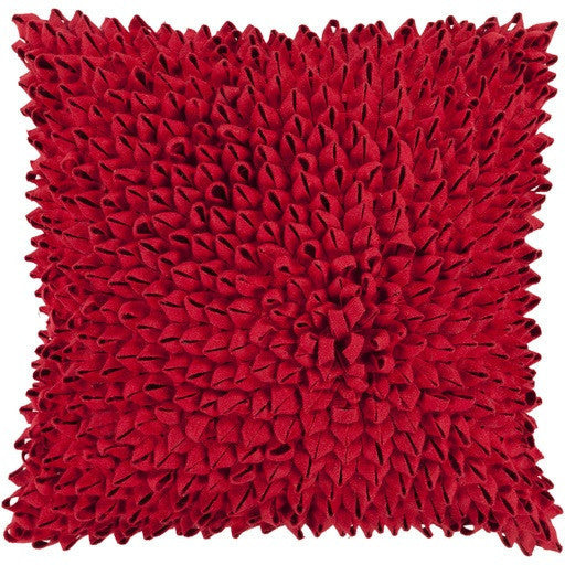 Dahlia Felt Ribbon pillow | Red - GDH | The decorators department Store