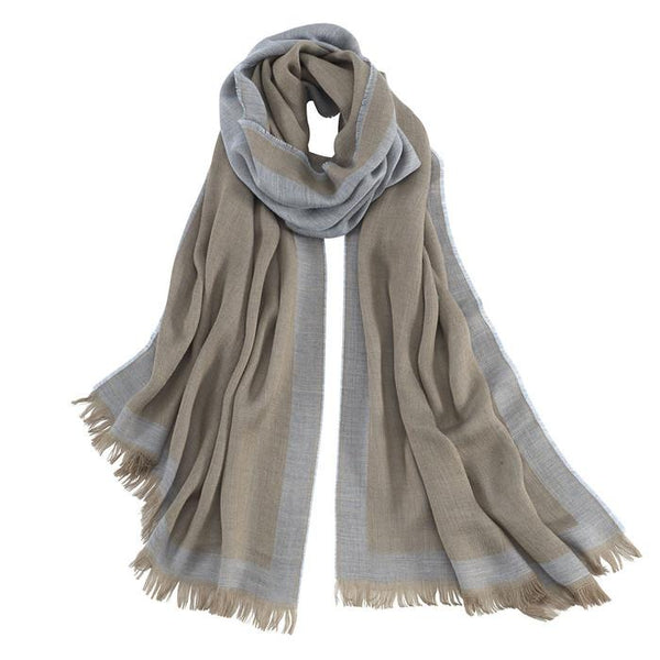 AVVOLTO BLUE BORDER SCARF - babeonbroadway