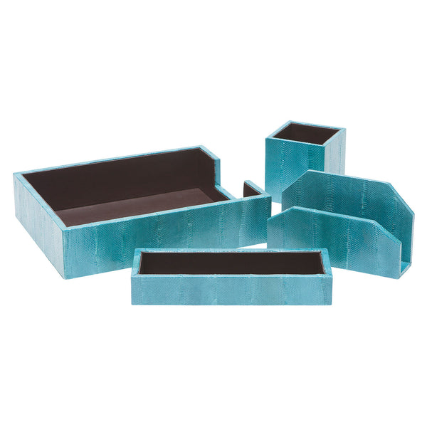 Zanzibar Turquoise Desk Accessory Set