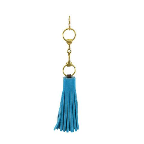 Suede Snaffle Tassel Key Fob | Azure - GDH | The decorators department Store