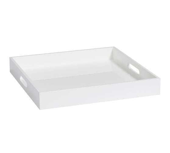 Square White Lacquer Tray - GDH | The decorators department Store