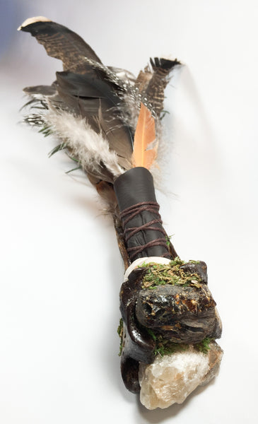 Elemental Altar Wand with Bovine Leg Bone Holder - Love and Light Gifts