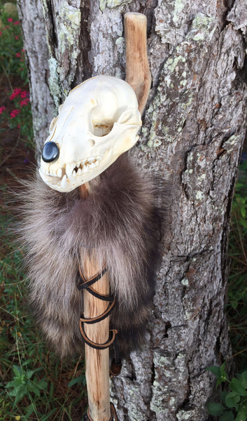 """Racoon Spirit"" Staff - Raccoon Skull, Raccoon Tails with Detachable Feather Wand - Love and Light Gifts"