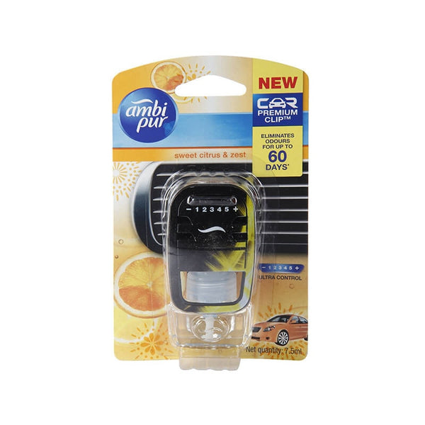 Ambi Pur Sweet Citrus & Zest Car Air Freshener 1 Diffuser Unit & 1 Perfume Bottle