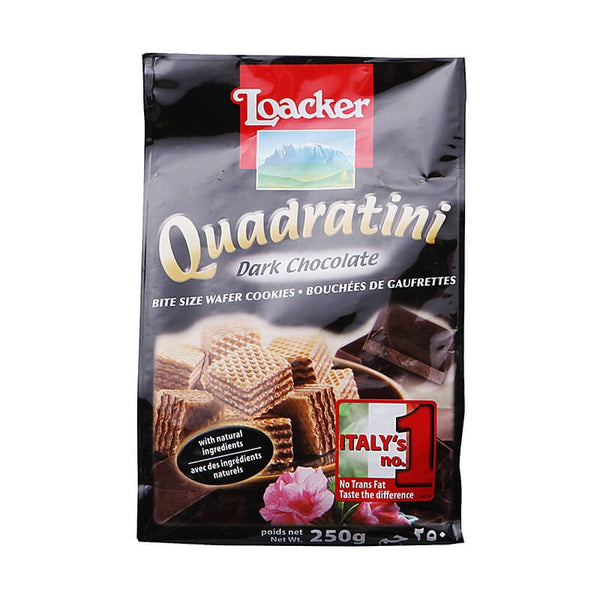 Loacker Quabratini Dark Chocolate Wafer Cookies