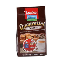 Loacker Quadratini Espresso Wafer Cookies 110 Gm