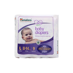 Himalaya Baby Diapers With Anti-Rash Shield Large 8-14Kg,9-18M, 9 Diapers