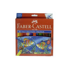 Faber Castell 24 Water Colour Pencils with Paint Brush 174 Mm