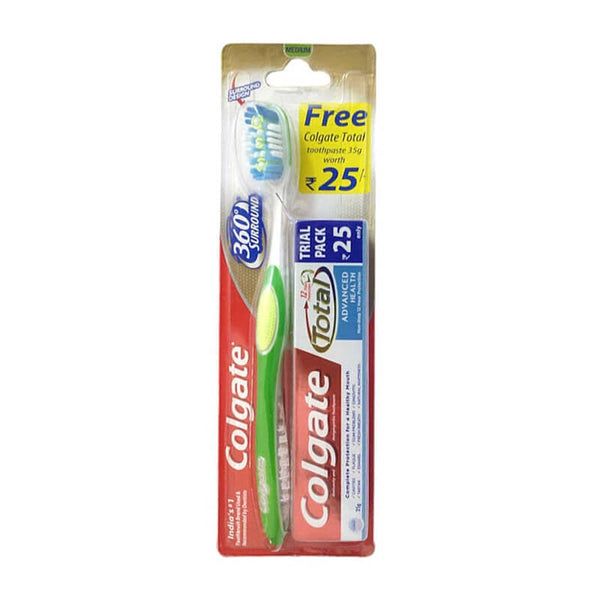 Colgate 360 surround tooth brush + free colgate total toothpaste Rs 25