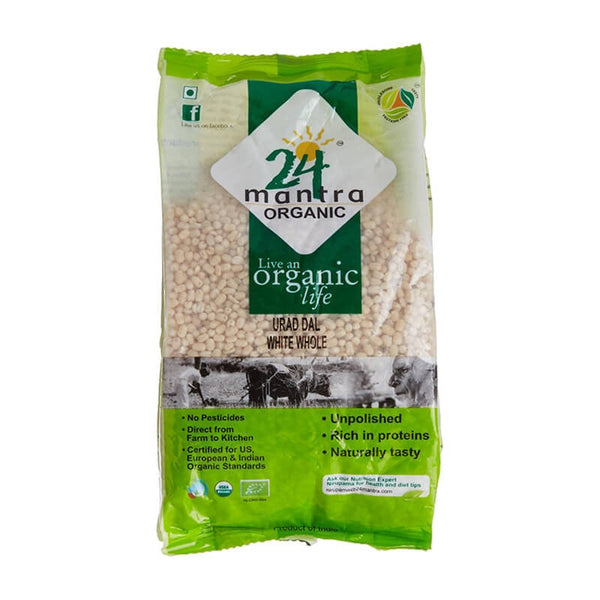 24 Mantra Organic Urad Dal White Whole - BazaarCart Best Online Grocery Store