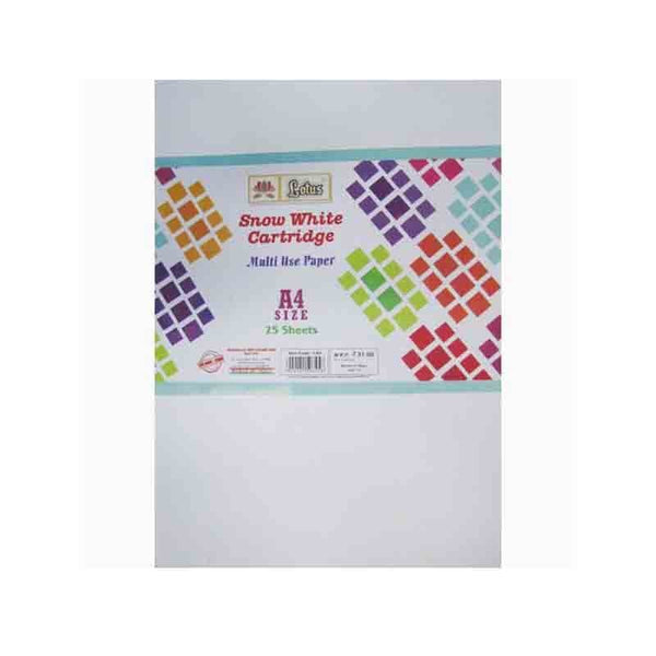 Lotus Snow White Cartridge Paper A3 Size Pack Of 25 Sheets