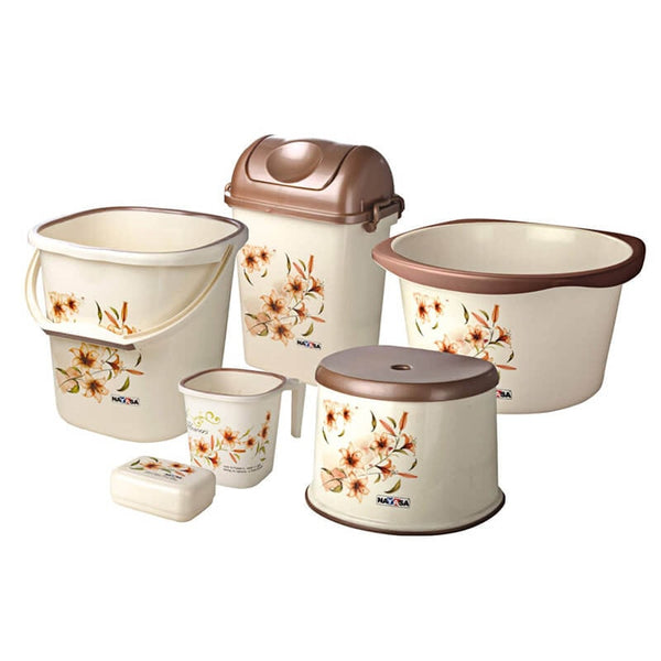 Nayasa Multiplast Small Bathroom Set of 6 Pcs