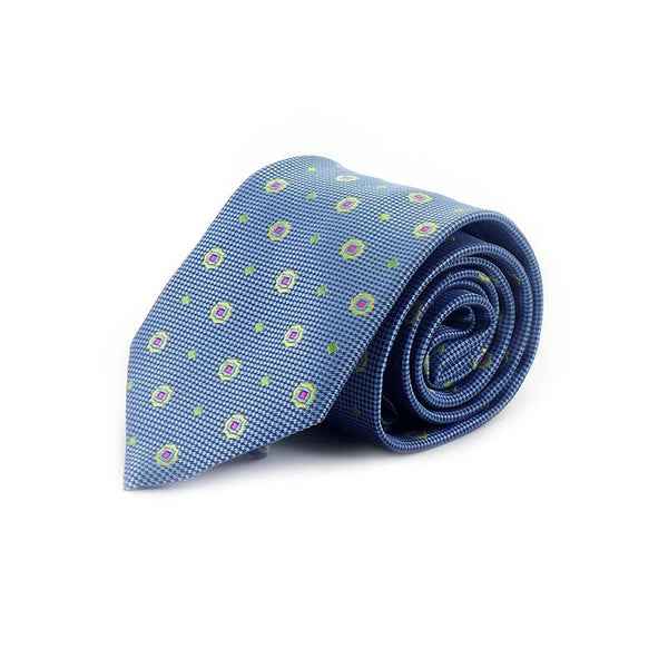 Mayo Design Tie sky Blue & pink dots